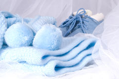 Blue clothes. For the newborn boy Royalty Free Stock Photography