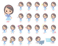 Blue clothes headband girl. Set of various poses of Blue clothes headband girl Royalty Free Stock Photography