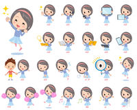 Blue clothes headband girl 2. Set of various poses of Blue clothes headband girl 2 Stock Photo