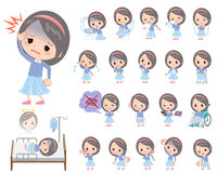 Blue clothes headband girl About the sickness Royalty Free Stock Photos