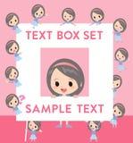Blue clothes headband girl text box. Set of various poses of Blue clothes headband girl text box Stock Photo