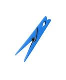 Blue clothes peg isolated on white. Background stock image