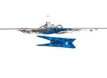 Blue Clothespin  underwater Royalty Free Stock Photo