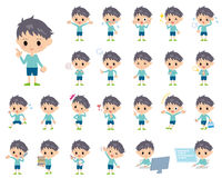 Blue clothing boy Stock Photos