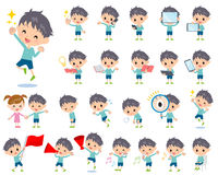 Blue clothing boy 2. Set of various poses of blue clothing boy 2 Royalty Free Stock Image