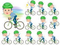 Blue clothing glass dad on rode bicycle. Set of various poses of Blue clothing glass dad on rode bicycle Royalty Free Stock Photo