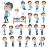 Blue clothing glass dad About the sickness. Set of various poses of Blue clothing glass dad About the sickness Royalty Free Stock Image