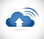 blue cloud arrow and wifi signal sign Stock Photography