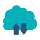 Blue cloud with arrows in opposite direction Royalty Free Stock Image
