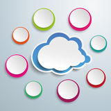 Blue Cloud With Colored Circles. On the grey background. Eps 10 vector file stock illustration