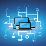 Blue cloud computing concept. Abstract Blue Cloud Computing Illustration - Everythings Connected to the Cloud Concept  - in Freely Scalable & Editable Vector Stock Images