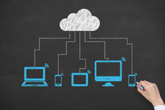 Blue Cloud Computing Concept Drawing on Blackboard Royalty Free Stock Image