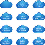 Blue Cloud Computing Set. For web design Stock Image