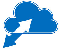 Blue cloud computing with sync arrows. Cloud computing symbol on transparent background Stock Images