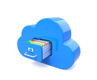 Blue cloud for files Stock Image