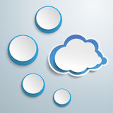 Blue Cloud With Four Circles Stock Images