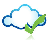 Blue cloud with green tick mark Royalty Free Stock Photography