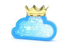 Blue cloud icon. 3D rendering. Stock Photo