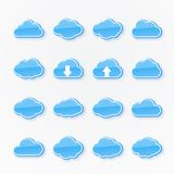 Blue cloud icons of different shapes Stock Photo