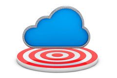 Blue Cloud over Target Point. 3d Rendering. Blue Cloud over Target Point on a white background. 3d Rendering Stock Photo
