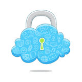 Blue Cloud protected. Royalty Free Stock Photography