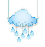 Blue cloud with rain drops hanging on white Stock Photography