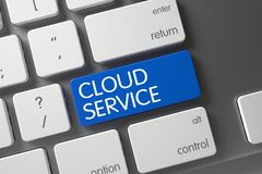 Blue Cloud Service Key on Keyboard. 3d. Cloud Service Concept: Aluminum Keyboard with Cloud Service, Selected Focus on Blue Enter Keypad. 3D Illustration Royalty Free Stock Photo