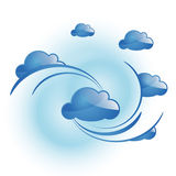 Blue cloud. Simple blue cloud in the sky. Set of modern backgound vector illustration Stock Photography
