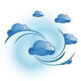 Blue cloud. Simple blue cloud in the sky. Set of modern backgound vector illustration stock illustration