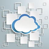 Blue Cloud White Rectangles Infographic PiAd. Cloud with rectangles on the grey background. Eps 10  file Stock Photo