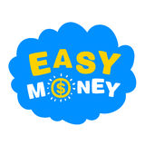 Blue cloud with the words easy money. On a white background Stock Photos