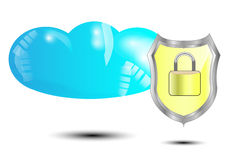 Blue cloud with yellow security lock Stock Photo