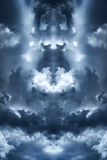 Blue clouds. Saturated storm clouds against the dark sky, dark blue tint Stock Photo