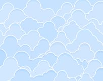 Blue clouds. Background editable vector illustration of blue cumulus clouds Stock Photos
