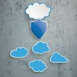 Blue Clouds Protection Shield Infographic Concrete. Blue clouds with protection shield on the concrete background Royalty Free Stock Photos