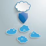 Blue Clouds Protection Shield Infographic. Blue clouds with protection shield on the grey background Royalty Free Stock Photos