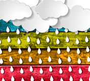 Blue clouds with rain drops on a Colorful Wooden Backgrou. Blue clouds with rain drops on a Colorful Wooden Planks Background royalty free illustration
