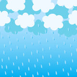 Blue clouds with rain drops. On a white background stock illustration