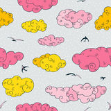 Blue Clouds, seamless pattern. Royalty Free Stock Images
