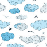 Blue Clouds, seamless pattern. Royalty Free Stock Photos