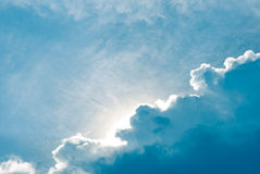Blue clouds and skies with light Royalty Free Stock Photography