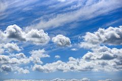 Blue clouds in the sky.  stock image