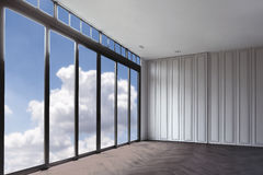 Blue clouds sky, view from clear glass window door frame interior room, luxury hotel beautiful interior with white walls and woo. D royalty free stock photo