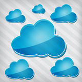 Blue clouds on a stripped background Stock Photography