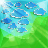 Blue clouds with sun light on a natural abstract background Royalty Free Stock Photos
