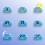 Blue Clouds with Weather Signs Stock Image