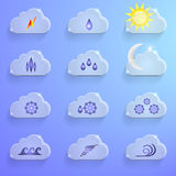 Blue Clouds with Weather Signs Infographics Royalty Free Stock Photo