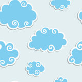 Blue Clouds with White Border. Seamless pattern Royalty Free Stock Images