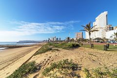 Blue Cloudy Durban Coastal City Skyline in South Africa Stock Photos