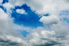 Blue cloudy sky. Close up Stock Image
